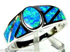 High Quality Blue Fire Opal Inlay Genuine 925 Sterling Silver Ring Size 8 - 10.5