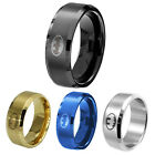 8MM Stainless Steel Titanium Band Ring Batman Logo Wedding Size Man Women 6-14