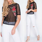 New Womens Flower Embroidered Crop Mesh See Through Sheer Top T Shirt Tee Blouse