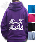 HORSE RIDING hoodie Equestrian KIDS ADULT HOODIE BORN TO RIDE BACK PRINT