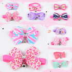Puppy Pet Dog Bell Cat Bowtie Doggy Kitten Collar Bow Adjustable Tie Jewelry IU