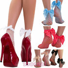 Socks woman fishnet tights broadband ankle bow satin knee high socks new 1121