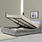 Silver Crushed Velvet Ottoman Bed With Storage LED Lights Double / King Size