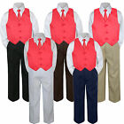 4pc Boys Suit Set Red Punch Christmas Vest Necktie Baby Toddler Kids Pants S-7