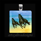 MOTHER DAUGHTER BLACK HORSES MOTHERS DAY LOVE GLASS PENDANT NECKLACE KEYRING