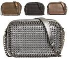 LADIES WOMENS ZIP STUDDED SHIMMER SMALL HARD CASE PARTY FASHION CLUTCH PURSE BAG
