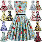 Women 50s 1950's Swing Vintage Retro Floral Housewife Pinup Evening Party Dress