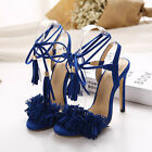 New Womens High Heels Tassels Strappy Open Toe Stiletto Pumps Sandals Shoes Size