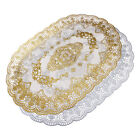 Luxury Hollow Gilded Table Cloth Heat Insulation Floral Ellipse Table Cover