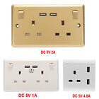 Double Wall Plug Socket 2 Gang 13A 2 USB Charger Port Outlets Plate Gold White