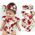 Sweet Baby Girls Floral Bodysuit Romper Summer Headband Sunsuit Outfit Set 0-24M