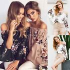 Women Casual Print Floral Off Shoulder Flare Long Sleeve Loose Asymmetry Tops