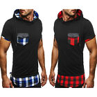 T Shirt Men'S Hooded Stitching Shirt Men Stitch hooded short sleeve Slim LAUS