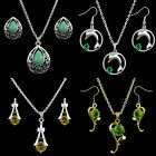 Wedding Women Rhinestone Charm Necklace & Crystal Earrings Set Fashion Jewelry