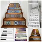 6PCS/set 3D Creative Tile Stairs Riser Stickers Stairs Mural Decals DIY Decor