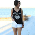 Summer Women MERMAID Black Sleeveless Tank Tops Beach Loose Casual Vest Camis