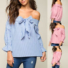 2017 New Fashion Women Casual Striped Off Shoulder Bowknot Blouse Tops Shirts