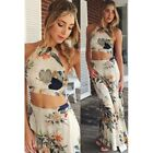 Women Summer Bandage Floral Casual Beach Two Piece Crop Top+Long Skirt Dress Set