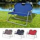 Outdoor Lawn Chair 2 Person Seat Foldable Picnic Camping Bench Aluminum Armrest