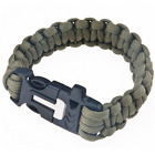 Survival Paracord Bracelet Whistle Flint Fire Starter Scraper Kits Navy Green
