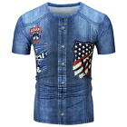 Mens 3D Print Summer Short Sleeve Casual Round Tops T-Shirt