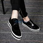 01 Mens Boy Retro Shiny Lace Up Fashion Sneakers Leisure Oxford Shoes Paneled