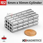 "25 50 100pc 6mm x 10mm 1 /4"" x 3 /8"" N52 Strong Disc Rare Earth Neodymium Magnet"