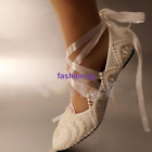 White light ivory lace pearls crstal flat ballet Wedding shoes  Bridal size 3-7