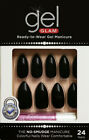 KISS GOLD FINGER GEL GLAM MANICURE GLUE ON STILETTO 24 NAILS-GFC08 BLACK