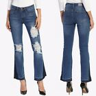 TheMogan Women's Vintage Cutoff Distressed Ripped Mid Rise Cropped Flare Jeans