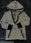 NWT Ralph Lauren Active fit jacket black white striped hoodie cotton women $69.5