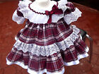 DREAM BABY BURGUNDY TARTAN FRILLY NETTED DRESS 0 TO 2 YEARS OR REBORNS