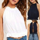Summer Girl Sexy Round Neck Casual Sleeveless Back Knot Beach Party Tops Fashion