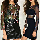 New Design Summer Womens Sexy Floral Embroidered See-Through Party T-shirt Tops