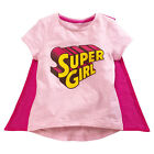 Baby Kids Girl Supergirl Pink Short Sleeve Cotton T-shirt with Cape Shawl Wrap