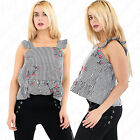 Womens Ladies Sleeveless Flower Embroidery Check Gingham Strappy Frill Top