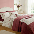 Catherine Lansfield Home Caitlyn Floral Embroidered Duvet Cover Set, Cream/Red