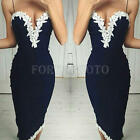 Women Summer Clubwear V Neck Bodycon Party Lace Dress Backless Dress Navy Blue