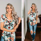New Women Casual Fashion Summer Short Sleeve Blouse Print Floral T-Shirt Tops