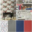 bookshelf wallpaper - ARTHOUSE BOYS LIFE BOOKSHELF, JESTER & GLITTER WALLPAPER - BLUE, RED, SILVER