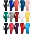New Womens Ladies Summer Long Sleeve Stretch Plain Bodycon Midi Maxi Dress 8-26