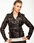 Womens Ladies Girls Super Soft Waxy Black Real Leather Biker Style Jacket