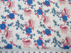Discount Fabric Challis Rayon Blue Floral Pink Paisley 2 yds @ $6.99 402J