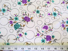 Discount Fabric Challis Rayon Purple & Teal Floral on Bubbles 2 yds @ $6.99 203K