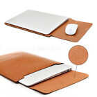 """US For 13"""" 13.3"""" Macbook Laptop Ultrabook PU Leather Sleeve Bag Case Cover Brown"""
