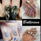 100pcs Ballerina Nail Tips Full Nails Coffin Shape 10pcs 3D Design Crystal DIY