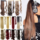 Dip Dye Ombre Wrap Around Ponytail Clip in Hair Extensions Pony tail Long Real T