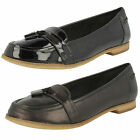 Ladies Clarks Angelica Crush Black Leather Or Patent Smart Slip On Loafers
