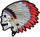 Embroidered Screaming Skull With Native Indian Head Dress Large Back