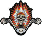 Embroidered Indian Head Dress Biker Skull Large Back Patch